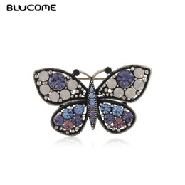 Butterfly lapel pins online shopping - Blucome Vintage Blue Butterfly Brooch Badge Crystal Rhinestone Animal Insect Sweater Corsage Women Girl Brooches Lapel Hijab Pin