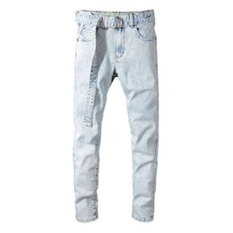 designer light fittings Australia - -Men Stretch Skinny Robin Jeans Male Designer Brand Super Elastic Straight Trousers Jeans Slim Fit Fashion Denim Belt Jeans for Male, Blue
