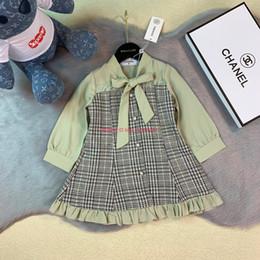 $enCountryForm.capitalKeyWord Australia - Girls dresses Autumn fashion kids designer clothing Cardigan cotton dress Skirt pleated design upper body chiffon dress