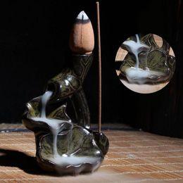 Großhandel Raumduftständer Räuchergefäß Räuchergefäß Seerose Rückflusshalter Keramikglasur Räuchergefäßhalter Home Decoration