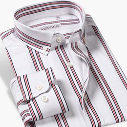 work dress shirts Australia - 100% Cotton Long Sleeve Men's Striped Dress Shirts Business Casual Button-down Classic Fashion Comfortable Formal Men Work Shirt