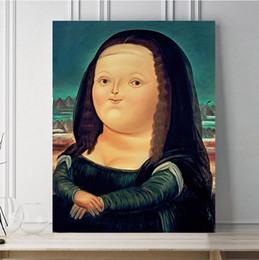 Portrait Oil Modern Australia - Cute Abstract Mona Lisa Handpainted & HD Print Modern Portrait Art Oil Painting On Canvas Wall Art Home Decor High Quality p185