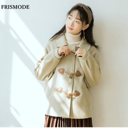 $enCountryForm.capitalKeyWord NZ - Peter pan Collar Long Sleeve Horn Button Wide-waisted Thick Short Woolen Coat 2018 Winter Women Sweet Mori Girl Wool Jacket Coat