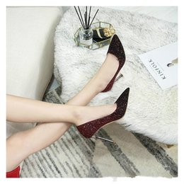 pointed toe glitter flats NZ - shipping fashion women Wedding shoes Glitter sequined Point toe thin heels High Heels Pumps Stilettos Shoes For Women Bridal Shoes