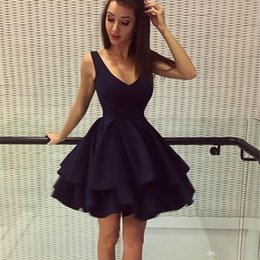 Wholesale teen model sexy picture for sale – plus size Navy Blue A Line Mini Short Cocktail Dresses Sexy V Neck Formal Evening Party Cocktail Gowns For Teens Uk Vintage Summer party dresses