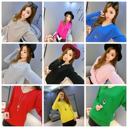 dd976ec811 Spring autumn cashmere sweaters women fashion sexy V-neck sweater loose  100% wool sweater batwing sleeve plus size pullover