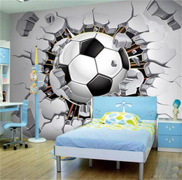 football bedding 2021 - custom size 3d photo wallpaper living room bed room mural fans football through wall picture 3d sofa TV backdrop wallpaper non-woven sticker