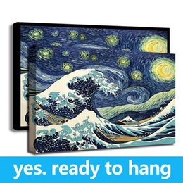 Art Canvas Prints Australia - Framed Canvas Wall Art Van Gogh Starry Night HD Print Painting Starry Night Wave Collage Artist - Ready To Hang