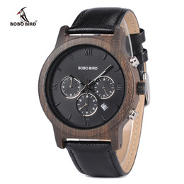 Stopwatch watch clock online shopping - clock with bird BOBO BIRD Watch Men Relogio Masculino Luxury Business Wood Wristwatches with Auto Date Stopwatch erkek kol saati V P28