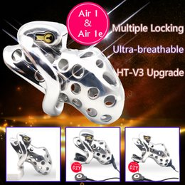 Male chastity hole online shopping - New Arrival Stainless Steel Venting Hole Design Male electric chastity Device Cock Sex Toys Kidding Zone Metal Air air e Y19070602