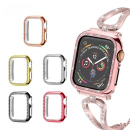 PC Watch Cover Luxury Bling Crystal Diamond Cover para Apple Watch Estuche para iWatch Series 4 3 2 1 Estuche 42 mm 38 mm Banda on Sale