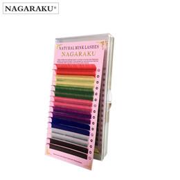 Long coLored hair extensions online shopping - Nagaraku rows Macaron Colors Rainbow Colored Eyelash Extension Faux Mink Color Eyelashes Colorful False Eyelash Maquiagem Cilios