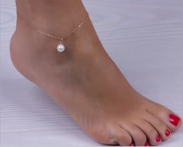 sexy feet accessories UK - Sexy Imitation Pearl Beads Gold Silver Alloy Ankle Chain Anklets Bracelet Foot Jewelry Barefoot Sandals Beach Accessories