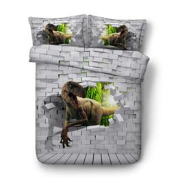 China 3d dinosaur print adult Cartoon Dinosaur Bedding Set Kids Full Queen king Double Size Duvet Cover Set Bedclothes quilt cover supplier quilt cover cartoon suppliers