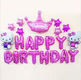 $enCountryForm.capitalKeyWord Australia - Hello Kitty Cat crown Foil Balloon Cartoon letter Birthday Party Decoration Inflatable Air Balloon Set Birthday celebrations