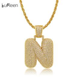 Necklaces Pendants Australia - LuReen GOLD N-Z Iced Out Letter Hip Hop Pendant Necklace 24 Inch Micro Pave CZ Dazzling Necklace For Men Women