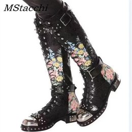 $enCountryForm.capitalKeyWord Australia - Rivets Studded Buckle Knee High Boots Women Embroidered Leather Print Flower Flat Motorcycle Boots Winter Shoes Woman Female Botas Zapatos