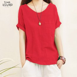 female linen shirts NZ - 2020 Summer Fashion Casual Cotton And Linen Tops T Shirt Loose Tee Top Female Cap Sleeve Women Short Sleeve Shirt Blusas Femininas