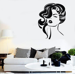 $enCountryForm.capitalKeyWord NZ - Sexy Girl Hairstyle Fashion Wall Stickers Vinyl Wall Decal Decor Beauty Salon Waterproof Removable Wallpaper Design Mural
