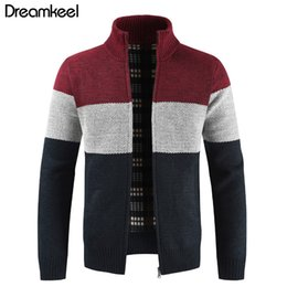 Clothing Zipper Australia - Brand Clothing Thicken Winter Sweater Men Pattern Striped Zipper Warm Outwear Jacket Wool Liner Cardigan ropa de hombre 2019 Y1