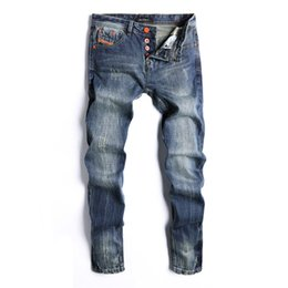 Fly Blue Australia - Dark Blue Distrressed Regular Mens Jeans Fashion Button Fly Straight Designer Pants Teenager Casual Luxury Jeans