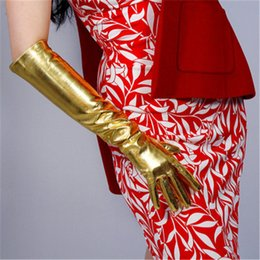 $enCountryForm.capitalKeyWord Australia - Patent Leather PU Gloves Female High Elastic Simulation Leather Bright Gold Woman's Gloves Cosplay Dance Party P1370-2