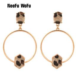 $enCountryForm.capitalKeyWord Australia - Brandjewelryyy's latest popular bright color stone leopard leather inlaid zinc alloy thin circle shaped big earrings fashion earrings