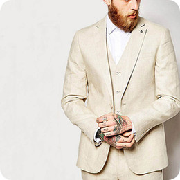 light gray linen suit Canada - Latest Coat Pant Designs Summer Beach Linen Men Suits Wedding Suit Best men Marriage Groom Tuxedo 3 Piece(Jacket+Pant+Vest) Terno Masculino