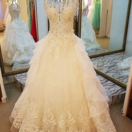 $enCountryForm.capitalKeyWord NZ - A-Line Wedding Gowns Cake Style O-Neck Cap Sleeves Illusion Back Lace Wedding Dress For Bridal Floor Length Applique Dress