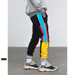 track pattern 2019 - Strapback Hiphop Sports High Street Elastic Waist Sweatpants Skinny Jogger Side Stripe Vintage Patchwork Track Cargo Pan