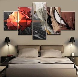 anime picture Australia - 5 Pieces HD Classic Anime One Punch Man Poster Canvas Paintings Wall Art Poster Pictures for The Living room(No Frame)