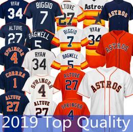 aa2f31c54 Camiseta de los Houston Astros 4 George Springer 1 Carlos Correa 27 Jose  Altuve 34 Nolan Ryan Camisetas de béisbol cosidas 2019