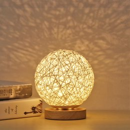 dropship lighting Australia - LED Night Light Lamp Chic Style 5.9Inch Lampshade With Hand-Knit Wood Bedroom Decorative Bedside Warm Soft Lamp Support Dropship