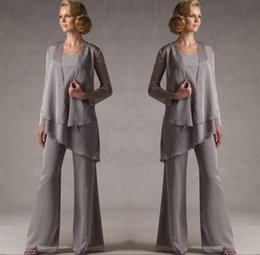 $enCountryForm.capitalKeyWord Australia - Mother Of The Grey Chiffon Bridal Mother Bride Pant Suits With Jacket Women Evening Pant Suits Long Sleeve Evening Dresses