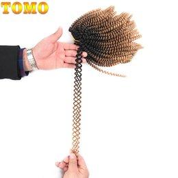 Synthetic Braiding Hair Blonde Australia - TOMO 8inch Short Crochet Braids Black brown Blonde Spring Twist Curly Hair Kanekalon Synthetic Hair Extensions Kinky Curly Twist 110g pack
