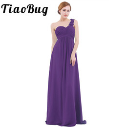 casual purple one shoulder dress 2019 - Women Adults Vestidos De Fiesta One Shoulder Floor Length Chiffon Long Bridesmaid Gowns Beading Dresses Q190516 cheap ca