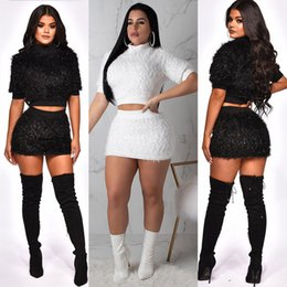 sexy winter white suit 2019 - women two piece dress short skirt suit autumn winter short sweater mini skirt sexy set Casual club womens clothes xl 811