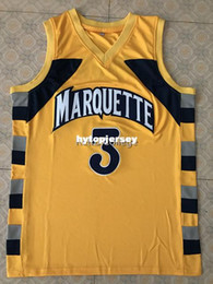 4fefcc6bf  3 Dwayne Wade College Marquette Golden Eagles Basketball Jersey All Size  Embroidery Stitched Customize any name and name XS-6XL vest Jersey
