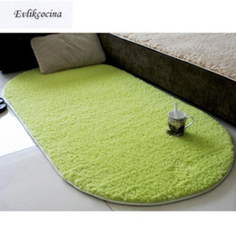 carpet oval NZ - Free Shipping Green Warm Soft Plush Absorbent Sponge Living Room Table Cushion Sofa Mat Rug Parlor Hallway Non-slip Oval Carpet