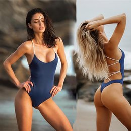 Cross Color Clothing Australia - One Piece Backless Swimsuit Solid Color High Waist Bandage Cross Swimwear Bikini Summer Beach Wear Bathing Suit Women Clothes 190583