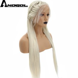 Brown Hair Blonde Front Australia - Hand Tied Braided Long Straight Platinum Blonde Pink Silver Grey Black Dark Brown Synthetic Lace Front Wig Baby Hair