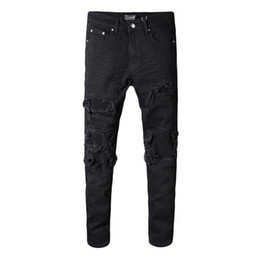 Cheap Ripped Jeans UK - Men's jeans pants trousers Ripped Big hole Fashion denim New 2019 Promotion high quality cheap Slim fit Straight Good tightness Cool