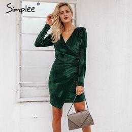 Ladies Long veLvet dress online shopping - Simplee Elegant Women Dress Vintage Wrap Velvet Formal Dress Sexy Long Sleeve Bodycon Female Vestidos Ladies Party Dress T190410