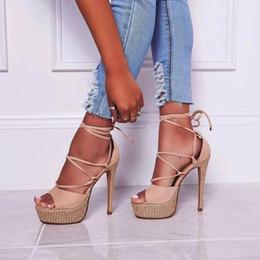 $enCountryForm.capitalKeyWord Australia - New Sexy Lace up Sandals for Woman 2019 Summer Thin Heels Shoes Super High Cutouts Gladiator sandalias romanas mujer YMA884
