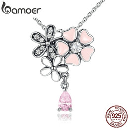 $enCountryForm.capitalKeyWord Australia - Bamoer 925 Sterling Silver Pink Heart Blossom Cherry Flower 45cm Pendants & Necklaces Women Sterling-silver-jewelry Scn046 J190711