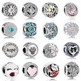 Heißer Verkauf Party Perlen Hoffnung Blumen Liebe Herzen Kristall Charms Perlen Für Pandora Frauen Armbänder Armreifen DIY Schmuck Femme Geschenke