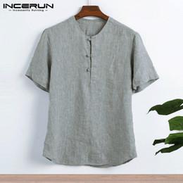 $enCountryForm.capitalKeyWord Australia - Plain Casual Shirts Cotton Linen Shirts Men T Shirts Summer Big 5xl Male Clothes Short Sleeve Camisas Masculina Y19072201
