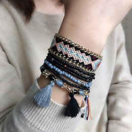 beaded multi strand bracelet Canada - Woven Winding Elastic Rope Bracelets Bohemian Multi-layer Beaded Bracelet Crystal Alloy Bracelets Bangle for Woman Man Gifts