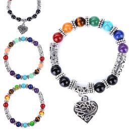 $enCountryForm.capitalKeyWord Australia - 7 Yoga Chakra Heart Bracelets Natural Stone Buddha Power Bangle Cuff Wristbands for Women Fashion Jewelry DROP SHIP 162113