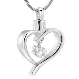 $enCountryForm.capitalKeyWord Australia - IJD12445 Stainless Steel Pet Paw Print Heart Cremation Pendant Keepsake Necklace Ashes Urns for Dog Cat Memorial Women Jewelry